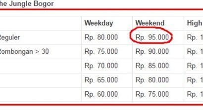 Harga Tiket Masuk The Junggle Bogor